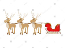 stock-vector-color-background-with-set-of-three-reindeers-and-sleigh-vector-illustration-619468208