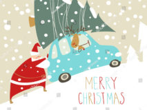 stock-vector-santa-claus-riding-in-a-car-with-a-christmas-tree-on-the-roof-231799990